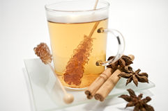 Chamomile tea and rock candy Stock Image