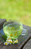 Chamomile tea on wooden table Royalty Free Stock Images