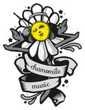 Chamomile trans black-white. Dancing with headphones daisy, black and white. Chamomile with a ribbon. Dancing Daisy on a white background. Star Disco. Modern Vector Illustration