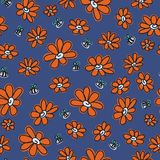 Chamomiles, floral vector seamless pattern Stock Images