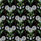 Chamomiles flowers. Modern floral seamless pattern background wa Stock Photos