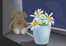 chamomiles psa zabawka Obrazy Stock