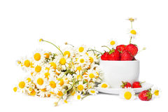 Chamomiles and strawberries in the cup Royalty Free Stock Image