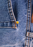 Chamomille flower in blue jeans denim pocket Royalty Free Stock Images