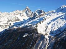 Chamonix Aguilles освещенное по солнцу Стоковое Фото