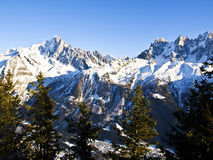 Chamonix Aguilles lit by the Sun Stock Photo