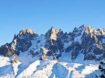 Chamonix Aguilles tände vid Sunen Royaltyfri Bild