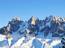 Chamonix Aguilles zaświecający Słońcem Obraz Royalty Free