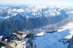 Chamonix from Aiguille du Midi Stock Images