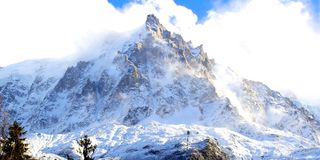 Chamonix aiguille du midi with snow in winter Royalty Free Stock Photography