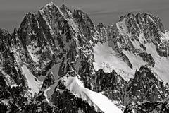 Chamonix Aiguille Verte Les Droites山  免版税库存图片