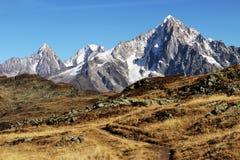 Chamonix Aiguille Verte-piek van een wandelingssleep royalty-vrije stock foto's