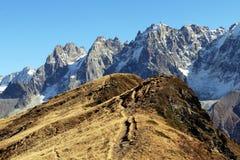 Chamonix Aiguilles de la pista de senderismo de la reserva de naturaleza del carlaveyron imagen de archivo libre de regalías