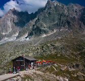 Chamonix Alps, mountain bar and shelter Stock Image