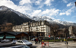 Chamonix with blue sky Stock Images