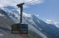 Chamonix cable car. The cable car of Chamonix, climbing towards Aiguille du Midi, the peak with a view on Mont Blanc royalty free stock photo