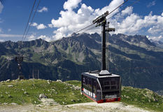 Chamonix cable car. The cable car of Chamonix, climbing towards Aiguille du Midi, the peak with a view on Mont Blanc royalty free stock photography