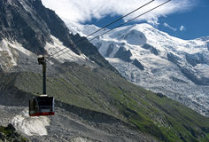 Chamonix cable car. The cable car of Chamonix, climbing towards Aiguille du Midi, the peak with a view on Mont Blanc royalty free stock photos