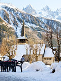 Chamonix Church. Church in view of French Alps at Chamonix Mont Blanc Royalty Free Stock Image