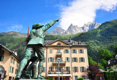 Chamonix city centre, France. CHAMONIX, FRANCE - JULY 31: Monument on the central square of Chamonix on July 31, 2015. Chamonix is a famous ski resort located in Stock Photos