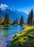 The Chamonix, City Park is illuminated by sunset Royalty Free Stock Images