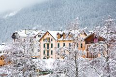 Chamonix city view. Alpine houses, chalets stock photography