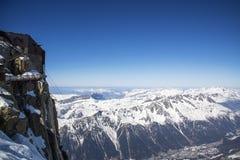 Chamonix dolina od Aiguille du Midi staci obrazy royalty free