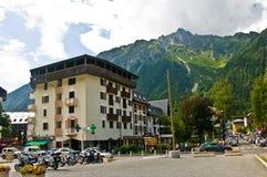 Chamonix, França no verão, área da estação do teleférico imagem de stock