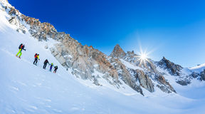 CHAMONIX, FRANCE - MARCH 19, 2016: A group of mountaneers on the Stock Photo