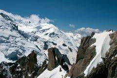 Chamonix Francia - una vista dal Aiguille du Midi Fotografie Stock Libere da Diritti