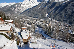 Chamonix im Winter stockbilder