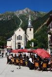 Chamonix-Kirchepanorama Stockfotos