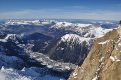 Chamonix Mont Blanc. View for the Aguille du Midi. The valley is town of Chamonix Mont Blanc Stock Images