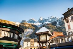 Chamonix Mont Blanc in Alps mountains, France. Winter landscape stock photos