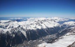 Chamonix-Mont-Blanc, Francia: Cabina di funivia da Chamonix-Mont-Blanc alla sommità di Aiguille du Midi Fotografie Stock Libere da Diritti