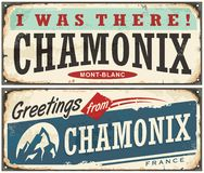 Chamonix Mont Blanc retro souvenir sign. Idea from one of the most popular winter holiday destinations. Vintage vector illustration Stock Photo