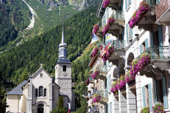 Chamonix Mont Blanc village square, France Royalty Free Stock Images
