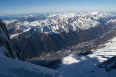 Chamonix od Aiguille du Midi Zdjęcia Stock
