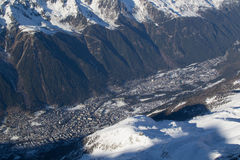 Chamonix od Aiguille du Midi Obrazy Stock