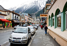 Chamonix's city street Royalty Free Stock Photography
