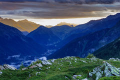 Chamonix valley in the clouds. France Royalty Free Stock Photos