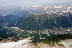 Chamonix valley, French Alps. Chamonix valley near Europe summit, Mont Blanc in the French Alps Royalty Free Stock Photos