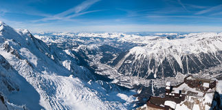Chamonix valley panoramic aerial view. From Aiguille du Midi mountain peak. Popular touristic destination Stock Photo