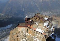 Chamonix valley panoramic aerial view from Aiguille du Midi mountain peak Stock Image