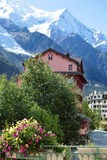 Chamonix village and mountain scene in France Royalty Free Stock Images