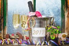 Champán, Año Nuevo 2017 Foto de archivo libre de regalías