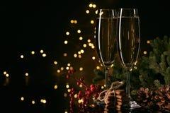 Champán Año Nuevo y la Navidad imágenes de archivo libres de regalías