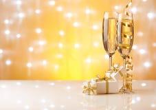 Champán Año Nuevo y la Navidad Fotos de archivo