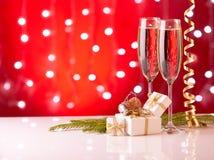 Champán Año Nuevo y la Navidad Fotos de archivo libres de regalías