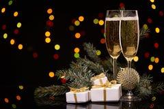 Champán Año Nuevo y la Navidad Foto de archivo libre de regalías